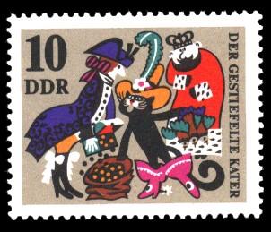 10 Pf Briefmarke: Märchen Der gestiefelte Kater