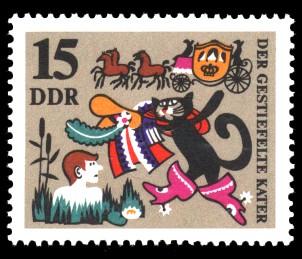 15 Pf Briefmarke: Märchen Der gestiefelte Kater