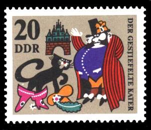 20 Pf Briefmarke: Märchen Der gestiefelte Kater