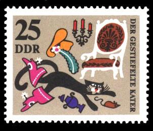 25 Pf Briefmarke: Märchen Der gestiefelte Kater