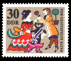 30 Pf Briefmarke: Märchen Der gestiefelte Kater