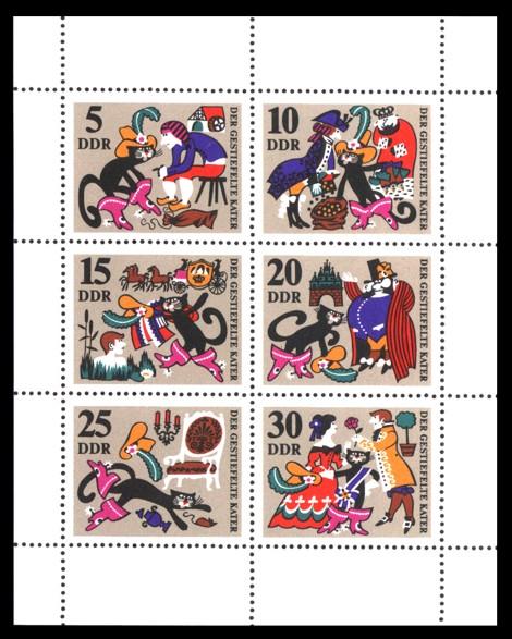 Briefmarke: Kleinbogen / Märchenbogen Der gestiefelte Kater