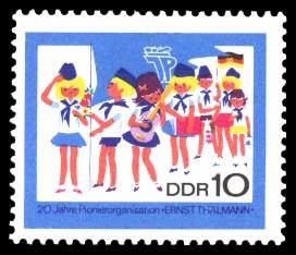 10 Pf Briefmarke: 20 Jahre Pionierorganisation