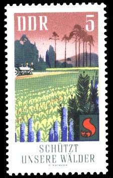 5 Pf Briefmarke: Waldbrandschutzerziehung