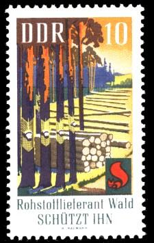 10 Pf Briefmarke: Waldbrandschutzerziehung