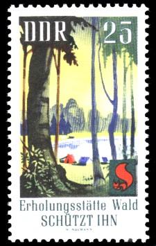 25 Pf Briefmarke: Waldbrandschutzerziehung