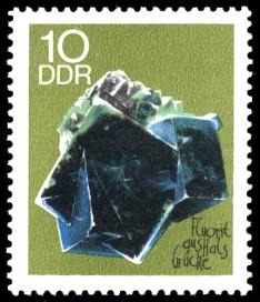 10 Pf Briefmarke: Minerale, Fluorit (Sammlung der Bergakademie Freiberg)