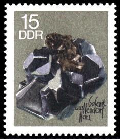 15 Pf Briefmarke: Minerale, Galenit (Sammlung der Bergakademie Freiberg)