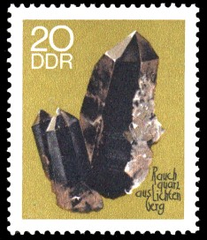 20 Pf Briefmarke: Minerale, Rauchquarz (Sammlung der Bergakademie Freiberg)