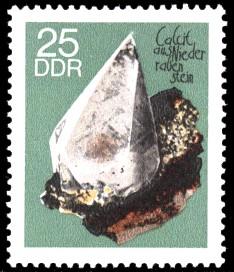 25 Pf Briefmarke: Minerale, Calcit (Sammlung der Bergakademie Freiberg)