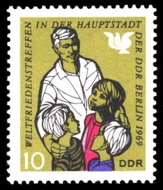 10 Pf Briefmarke: Weltfriedenstreffen in Berlin
