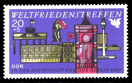 20 + 5 Pf Briefmarke: Weltfriedenstreffen in Berlin