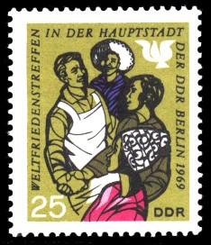 25 Pf Briefmarke: Weltfriedenstreffen in Berlin