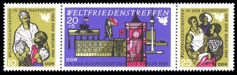 Briefmarke: Dreierstreifen Weltfriedenstreffen in Berlin