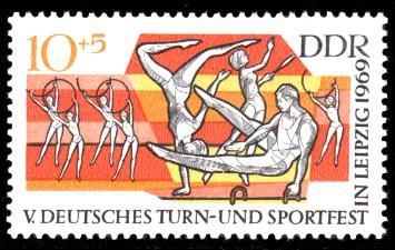 10 + 5 Pf Briefmarke: V. Turn- und Sportfest in Leipzig