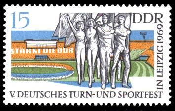 15 Pf Briefmarke: V. Turn- und Sportfest in Leipzig