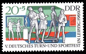 20 + 5 Pf Briefmarke: V. Turn- und Sportfest in Leipzig
