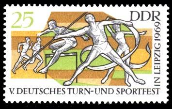 25 Pf Briefmarke: V. Turn- und Sportfest in Leipzig
