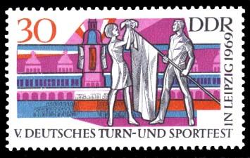 30 Pf Briefmarke: V. Turn- und Sportfest in Leipzig