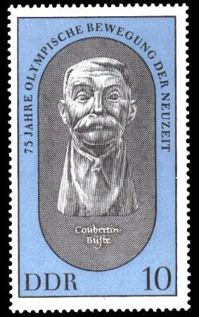 10 Pf Briefmarke: 75 Jahre Olympische Bewegung der Neuzeit