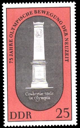 25 Pf Briefmarke: 75 Jahre Olympische Bewegung der Neuzeit