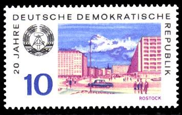 10 Pf Briefmarke: 20 Jahre DDR, Rostock