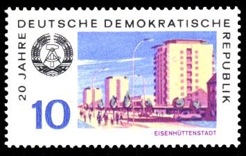 10 Pf Briefmarke: 20 Jahre DDR, Eisenhüttenstadt