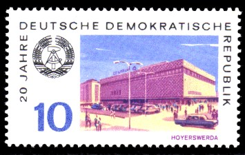 10 Pf Briefmarke: 20 Jahre DDR, Hoyerswerder