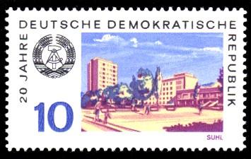 10 Pf Briefmarke: 20 Jahre DDR, Suhl