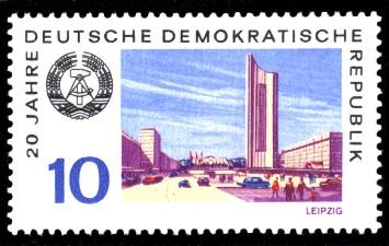 10 Pf Briefmarke: 20 Jahre DDR, Leipzig