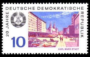 10 Pf Briefmarke: 20 Jahre DDR, Karl-Marx-Stadt