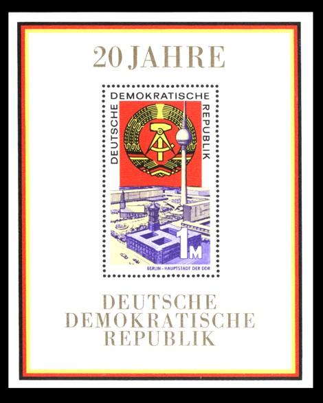 1 M Briefmarke: Block - 20 Jahre DDR