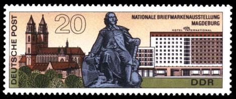 20 Pf Briefmarke: Nationale Briefmarkenausstellung Magdeburg