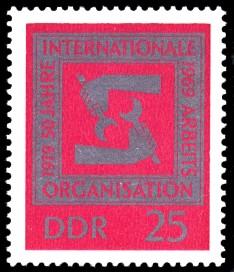 25 Pf Briefmarke: 50 Jahre Arbeitsorganisation IAO
