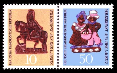 Briefmarke: Zusammendruck der 10 Pf und 50 Pf Marke, Volkskunst aus der Lausitz