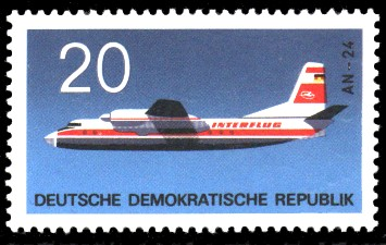 20 Pf Briefmarke: Flugzeugtypen, Interflug AN-24
