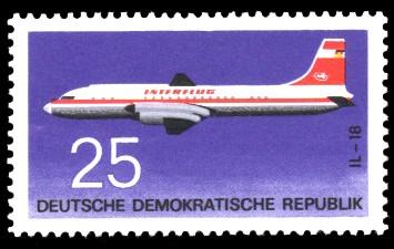 25 Pf Briefmarke: Flugzeugtypen, Interflug IL-18