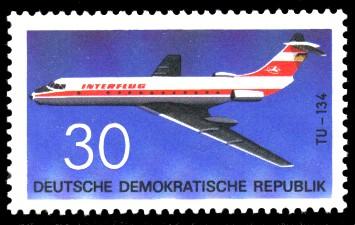 30 Pf Briefmarke: Flugzeugtypen, Interflug TU-134
