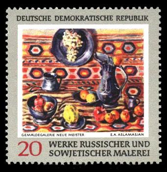 20 Pf Briefmarke: Werke russischer und sowjetischer Malerei, Stilleben