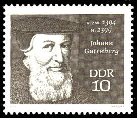 10 Pf Briefmarke: Bedeutende Persönlichkeiten, Johann Gutenberg