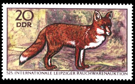 20 Pf Briefmarke: Internationale Rauchwarenauktion, Fuchs