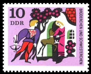10 Pf Briefmarke: Deutsche Märchen, Brüderchen und Schwesterchen