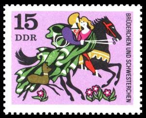 15 Pf Briefmarke: Deutsche Märchen, Brüderchen und Schwesterchen
