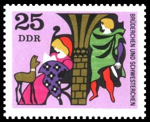 25 Pf Briefmarke: Deutsche Märchen, Brüderchen und Schwesterchen