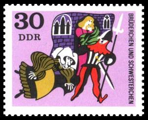 30 Pf Briefmarke: Deutsche Märchen, Brüderchen und Schwesterchen
