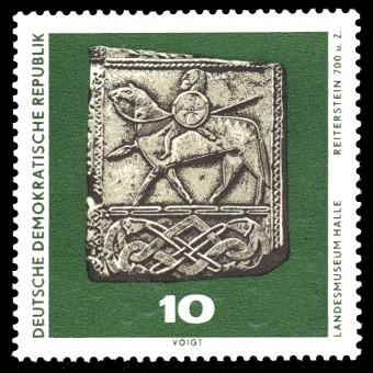 10 Pf Briefmarke: Archäologische Funde, Reiterstein