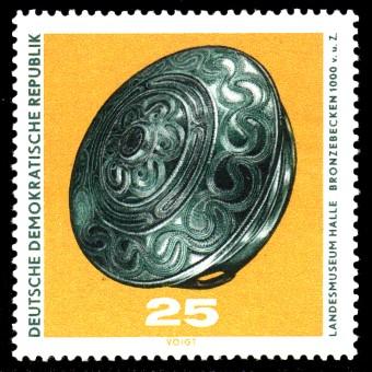 25 Pf Briefmarke: Archäologische Funde, Bronzebecken
