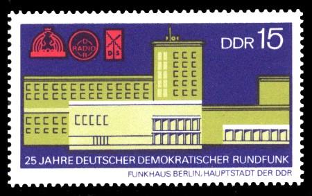 15 Pf Briefmarke: 25 Jahre Deutscher Demokratischer Rundfunk