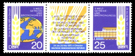 Briefmarke: Zusammendruck mit Zierfeld: Welt-Getreide- und Brot-Kongress