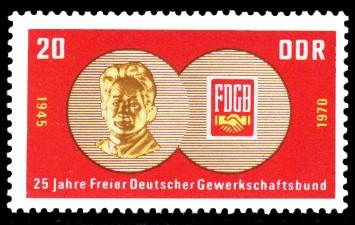 20 Pf Briefmarke: 25 Jahre FDGB, Freier Deutscher Gewerkschaftsbund